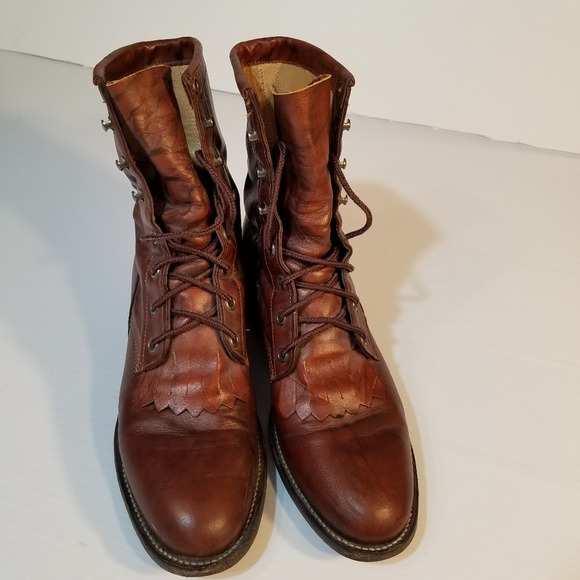 Justin Boots Shoes - Justin Boots Womens Lace Up Granny Vintage sz 7B 6705db32ca